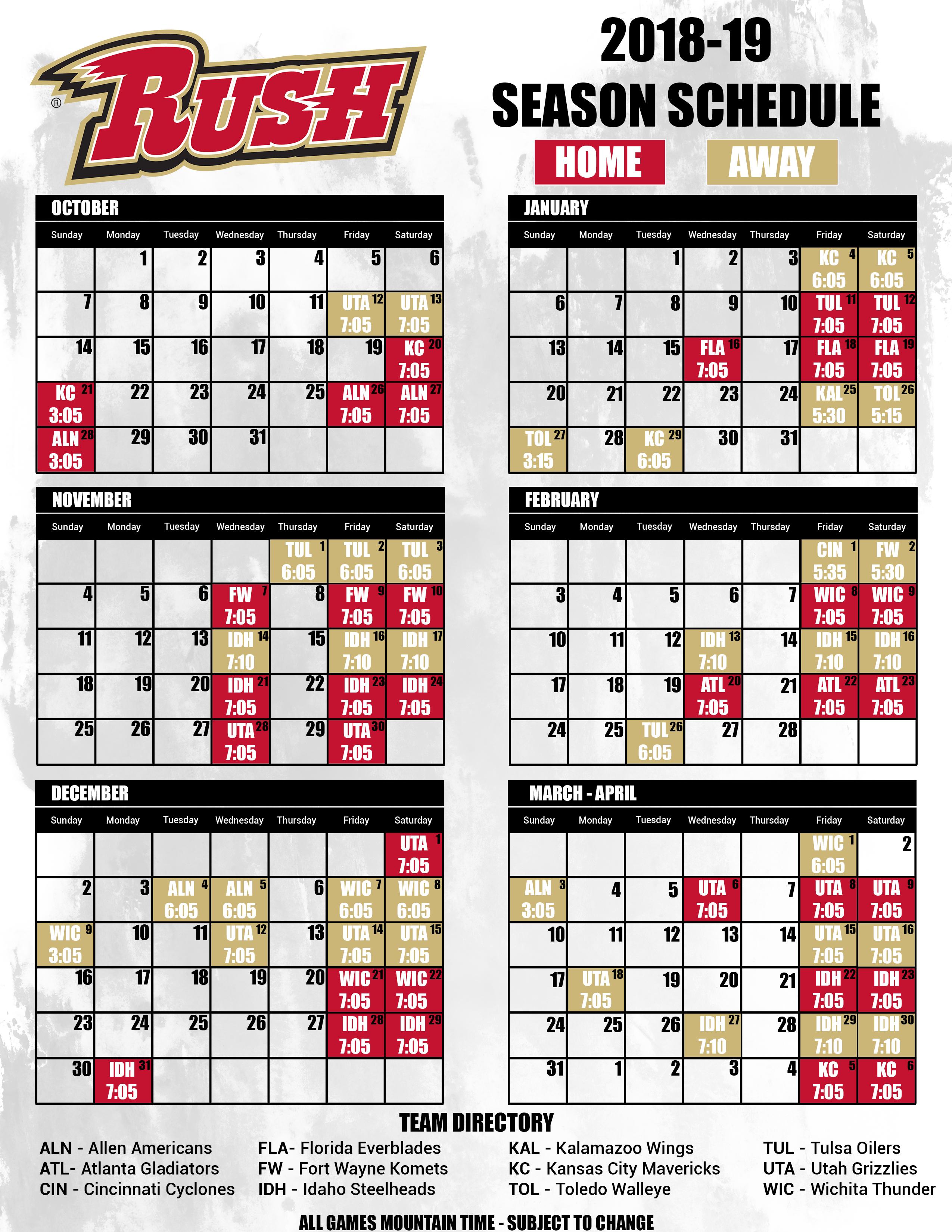 Rapid City Rush: Schedule