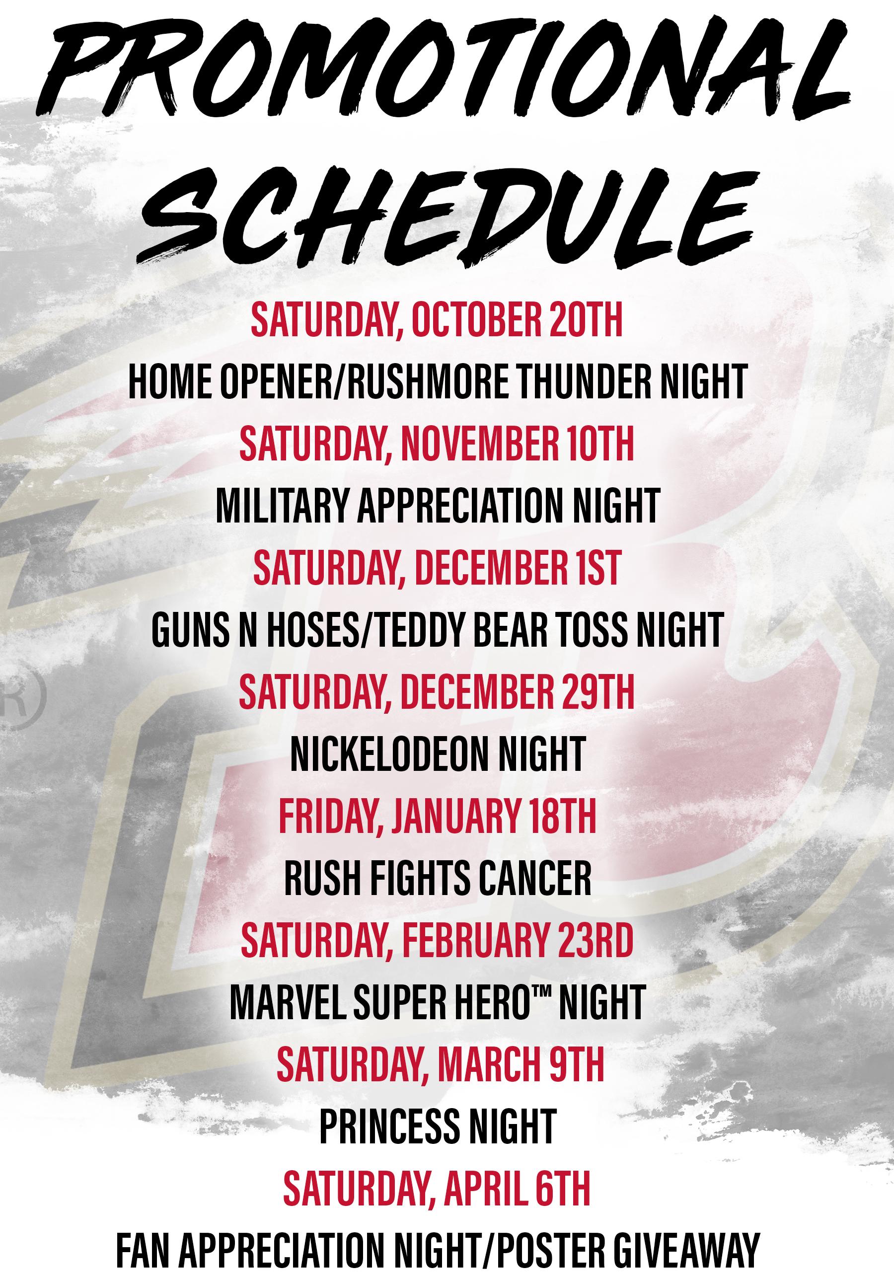 Rapid City Rush: Promotional Schedule